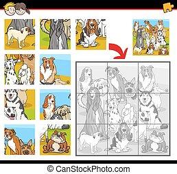 zoekplaatje, activiteit, met, honden