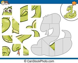 zoekplaatje, activiteit, met, slang