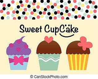 zoet, cupcake, cupcake, vector