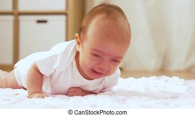 zoet, deken, gebreid, baby meisje, pluche, het liggen