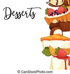zoet, dessert., illustratie, vector, heerlijk, spotprent