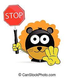 zoet, en, schattig, leeuw, met, meldingsbord, stoppen,...