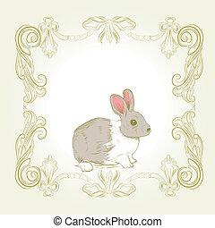 zoet, frame, konijntje, kaart, ouderwetse