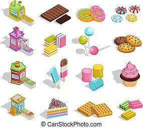 zoet, goederen, gebakje, verzameling