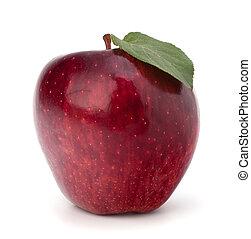 zoet, groen blad, appel, rood