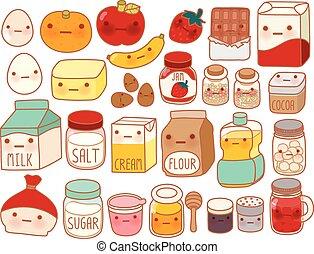 zoet, melk, kinderlijk, ei, stijl, taart, schattig, meel, vrijstaand, pictogram, spotprent, manga, schattige, aardbei, girly, bestanddeel, kawaii, boter, verzameling, mooi en gracieus, witte