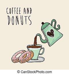 zoet, ontwerp, donuts