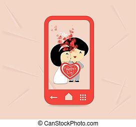 zoet, paar, valentines, liefde, dag
