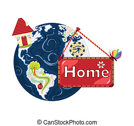 zoet, planeet land, thuis, ons, home-