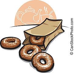 zoet, poeder, donuts