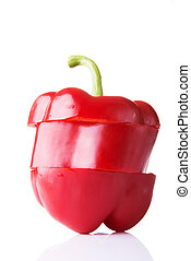 zoet, rood, afgesnijdenene, peper