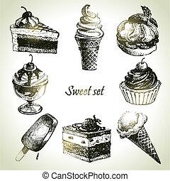 zoet, set., ijs, hand, illustraties, taart, getrokken, room