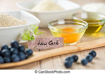 zoetigheden, op, diet:, ingredienten, voor, laag, carb, cupcake, het koken