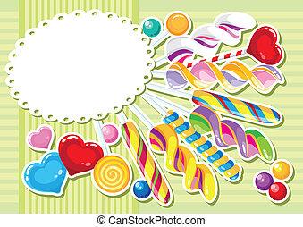 zoetigheden, sticker, achtergrond