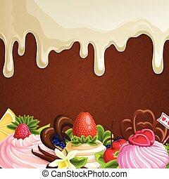 zoetigheden, witte achtergrond, chocolade