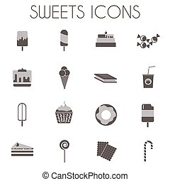 zoetigheden, witte , set, black , iconen