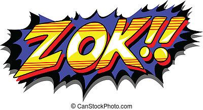 zok, -, cómico, expresión, vector, texto