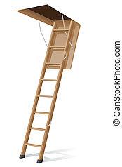 zoldertjes, houten ladder, vector, illustratie