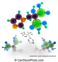 zoledronic acid molecule structure. Three dimensional model...