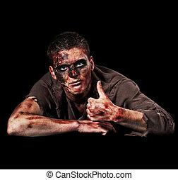 zombi, actuación, arriba, pulgares