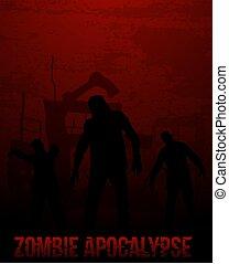 zombi, ambulante, colores, apocalipsis, rojo, muerto, cartel