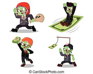 zombi, argent, ensemble, dessin animé, homme affaires