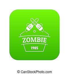 zombi, attaque, vert, icône