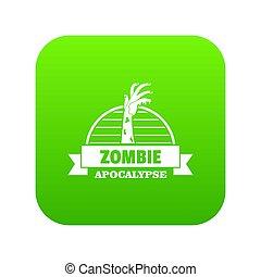 zombi, attraper, vert, icône