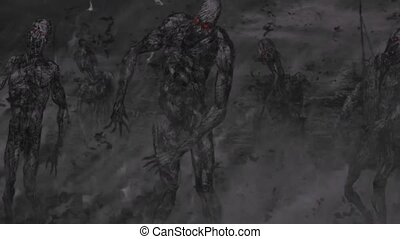 zombi, búsqueda, horda, personas., va