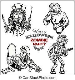 zombi, blanc, ensemble, isolé, dessin animé