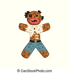 zombi, caractère, illustration, vecteur, déguisement, fond, pain épice, noël blanc, homme