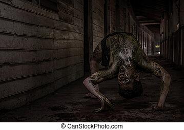 zombi, casa, hombre, obsesionado, feo