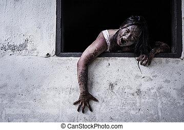 zombi, casa, niña, obsesionado