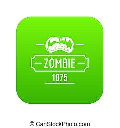zombi, cauchemar, vert, icône