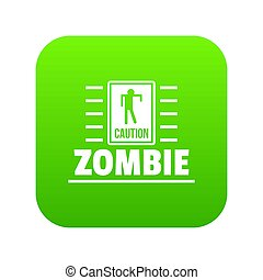 zombi, danger, vert, icône