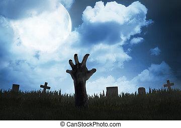 zombi, dehors, cimetière, main