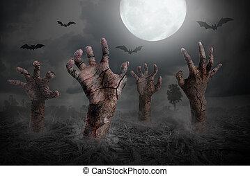 zombi, dehors, terrestre, levée, main