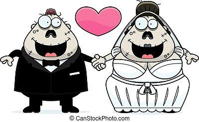 zombi, dessin animé, mariage