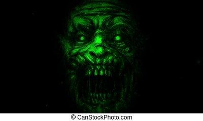 zombi, effrayant, noir, arrière-plan., figure