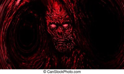 zombi, effrayant, visage rouge