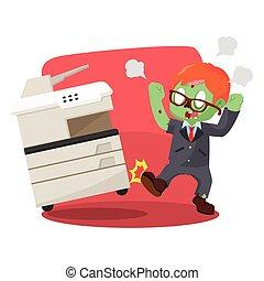 zombi, enojado, máquina, patear, hombre de negocios, fotocopia