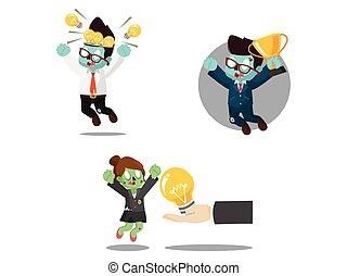 zombi, ensemble, dessin animé, business