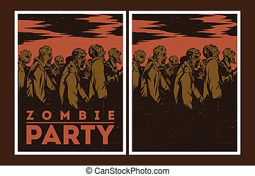 zombi, fête, invitation.