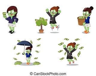 zombi, femme affaires, ensemble, dessin animé, argent