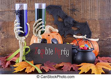 zombi, fiesta,  Halloween, decoraciones, feliz