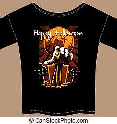 zombi, gráfico, halloween, camisa, t