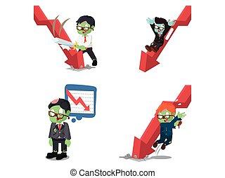 zombi, graphique, business, bas, ensemble, dessin animé