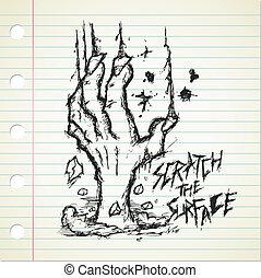 zombi, griffonnage, grunge, main