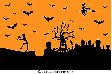 zombi, halloween, bandera