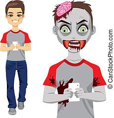zombi, hombre, texting, smartphone